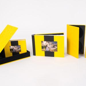 Album foto nunta galben, album coperta piele galbena, album digital